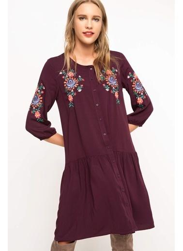 DeFacto İşlemeli Elbise Mor